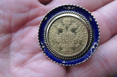 Superb Antique 1915 GOLD 10 Florin Coin Pendant or Brooch in 14ct Gold Enamel