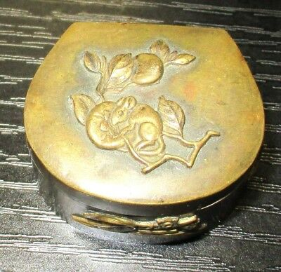 Old Bronze Japanese Mice On Fruit Mixed Metal Trinket Snuff Jar Box
