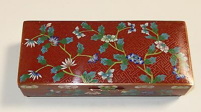 Chinese Cloisonne Red Enamel Floral Humidor Trunk Jar Box