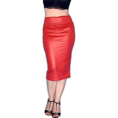 enger KUNSTLEDER ROCK rot glänzend* M wetlook Leder-Look Pencil Skirt High Waist