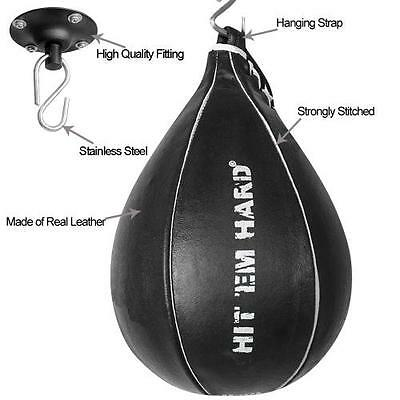 Speedball Real Leather Pear Shape Punch MMA Boxing Sparring Training inc Swivel