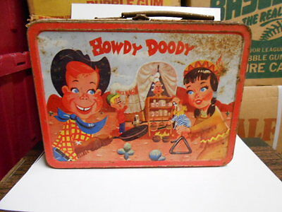 Howdy Doody TV show rare vintage metal lunch box 1950s