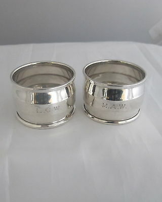 Antique Sterling Solid Silver Pair Napkin Rings Heavy Birmingham 1952