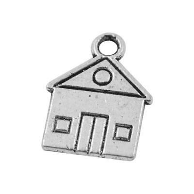 Packet of 20 x Antique Silver Tibetan 17mm Charms Pendants (House) ZX00925