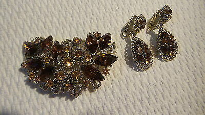 Vintage RHINESTONE BROOCH AND CLIP-ON EARRINGS SET Shades of Amber