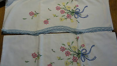 Vintage EMBROIDERED PILLOWCASE PAIR Pink/Yellow Floral,Blue & White Trim