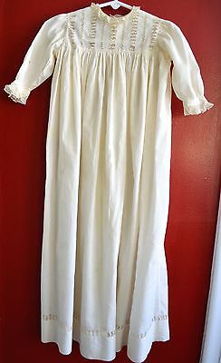Antique Vintage Christening Gown Cotton Ivory Lace & Drawn Work Lovely!