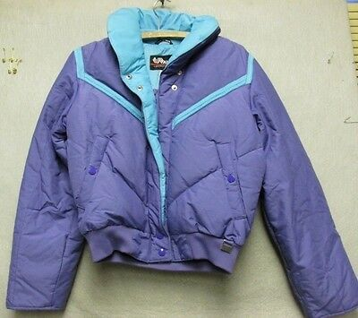 W4529 Size 10 Kids Alpha Vintage 1980s Purple and Teal Down Zip-Up Coat