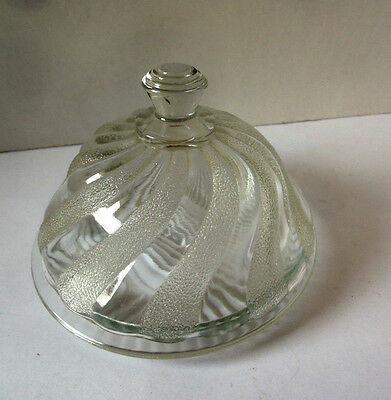 Butter Dish, Dominion Glass Canadian Swirl Buttler with Lid  Vintage