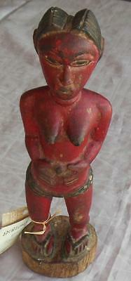 Carved Painted  Wooden Baule Spirit Wife, Ivory Coast Statue, 12 Inches Tall