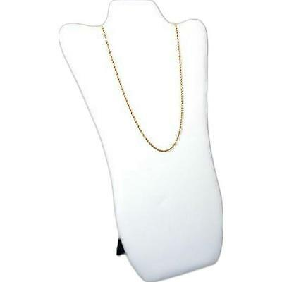 """Necklace Display Bust White Faux Leather Pendant 14"""""""