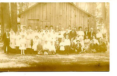 Large Group of People-Young & Old-Wood Building-RPPC-Vintage Real Photo Postcard