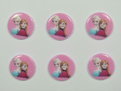 BB BUTTONS FROZEN PINK elsa anna 22mm pack of 6 acrylic sewing craft
