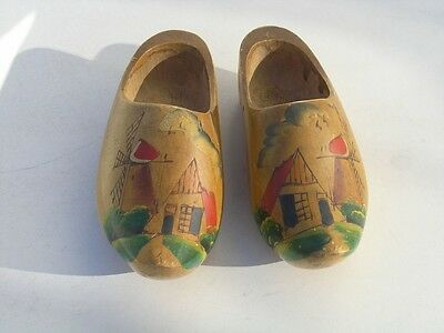 Small Antique Holland Made Hand Carved Painted Wooden Dutch Shoes Clogs Klompens