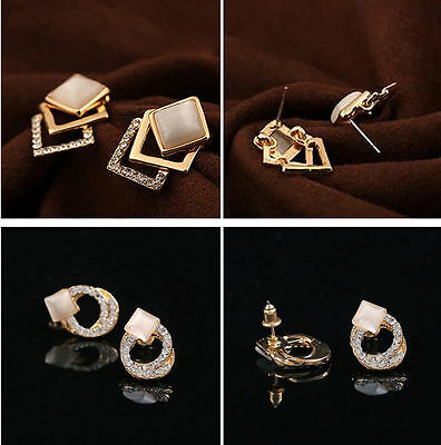 1Pair Fashion Women Lady Elegant Crystal Rhinestone Square Ear Stud Earrings