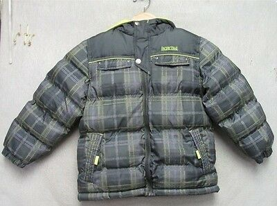 S3014 Pacific Trail Children's Large Size 7 Grey/Green Plaid Winter Jacket