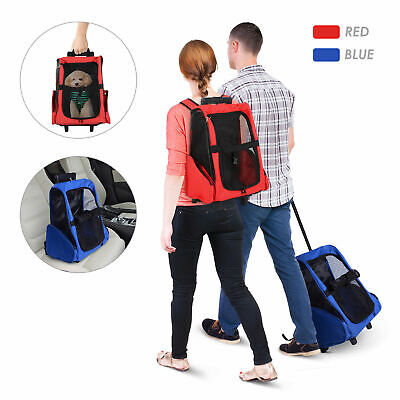Pet Travel Bag Cat Puppy Dog Carrier Rucksack Stroller Detachable Backpack Wheel