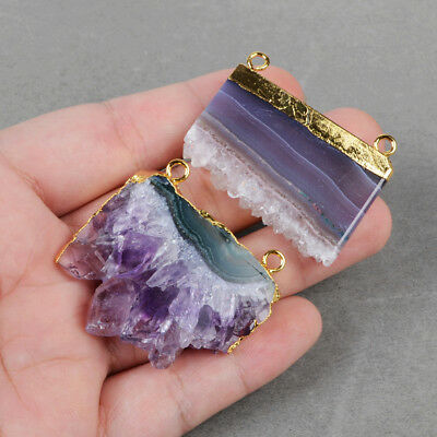 HOT! Rare Natural Amethyst Druzy Slice Gold Plated Cap Connector For DIY HG0592