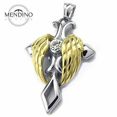 MENDINO Men's Stainless Steel Pendant Necklace CZ Angel Wing Celtic Cross Gold