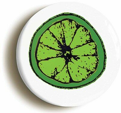 LIME SLICE LOGO BADGE BUTTON PIN (Size is 1inch/25mm diameter)