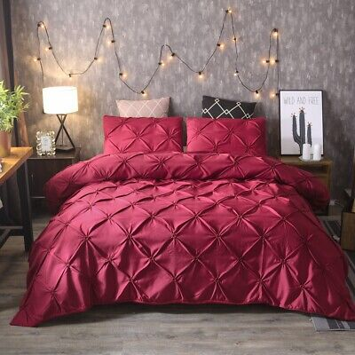 Red Diamond Pintuck Doona Duvet Quilt Covers Set Single Queen King All Size Bed