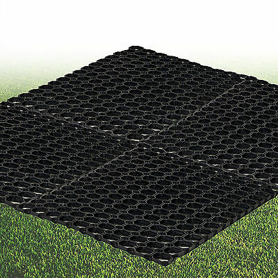 4 Black Heavy Duty Rubber Hollow Floor Mat Grip Studs Home Office Dirt Non Slip