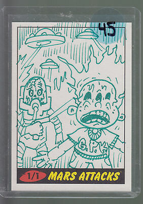 2012 Topps Mars Attacks Sketch Card  1/1 Signed By The Artist's Signature