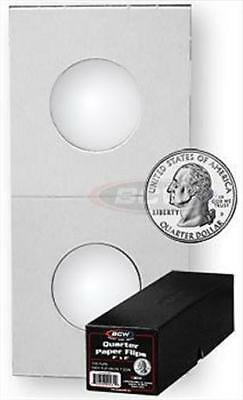 1000 BCW 2 x 2 Quarter Size Cardboard Coin Flips + Black Storage Box 2x2 holders