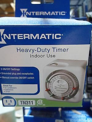 Intermatic Timer TN311, 24-Hour Heavy-Duty Indoor Mechanical Plug-in Timer-White