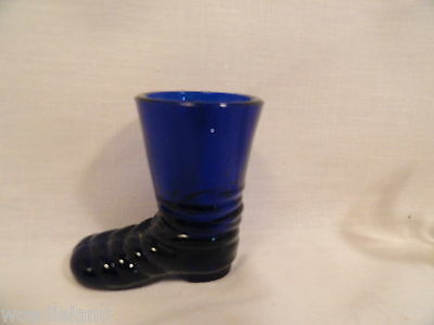 Two Vintage Glass Candy Containers Crystal Dog & Cobalt Blue Boot 2 3/4""