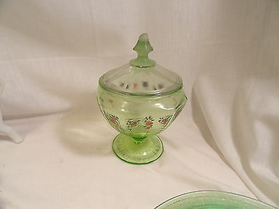 Green Princess Painted Candy Jar with Other Lid aS IS