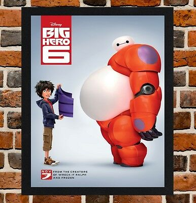 Framed Big Hero 6 Movie Poster A4 / A3 Size Mounted In Black / White Frame