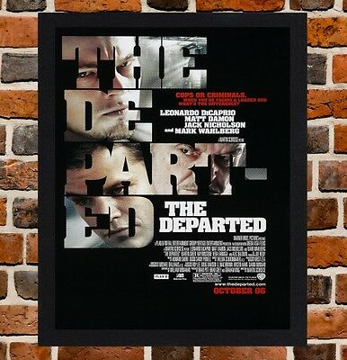 Framed The Departed Movie Poster A4 / A3 Size Mounted In Black / White Frame .