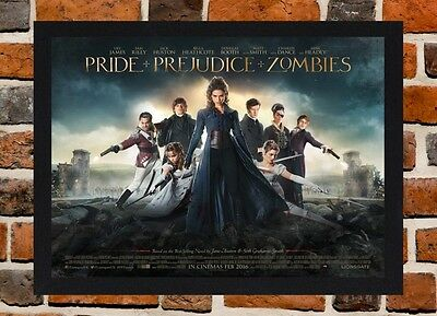Framed Pride And Prejudice And Zombies Movie Poster A4 / A3 Size In Black Frame.