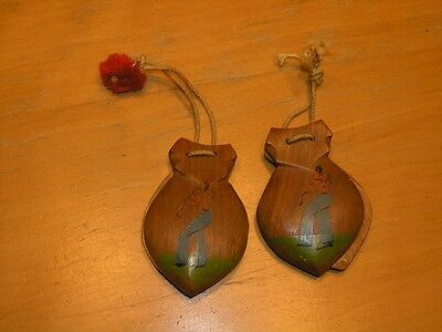Two Pairs Vintage Wooden Spanish Flamenco Castanets Hand Painted Flamenco Dancer