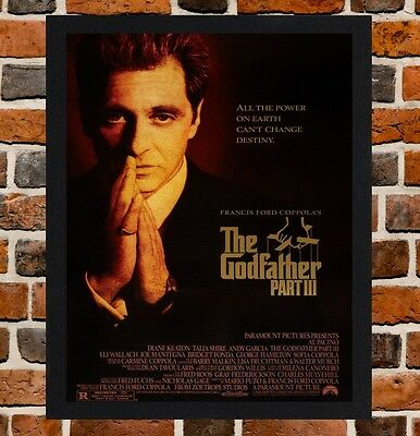 Framed The Godfather Part III Movie Poster A4 / A3 Size In Black / White Frame