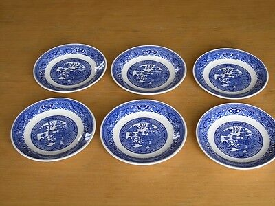 Group of Six Great Vintage Blue Willow Saucers