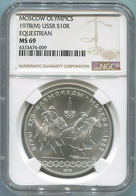 1978 M Russia USSR, Moscow Olympics, 10 Roubles Silver, Equestrian. NGC MS69