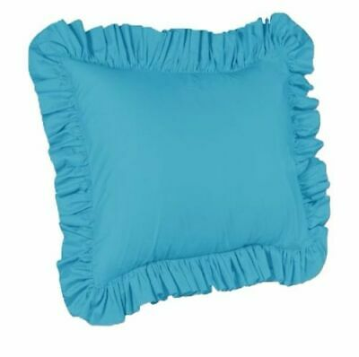 One Piece Euro Ruffled Shams Solid Cover Case Decorative Pillow  (8 Colors)