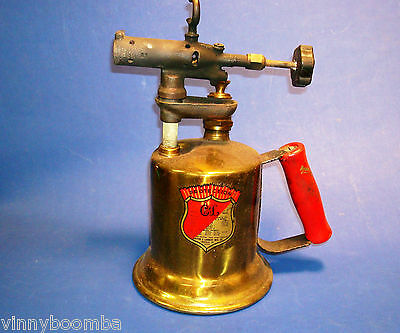 Vintage C&l Torch Brass 158A With Wooden Hand And Rare Mint Decals Very Good ~