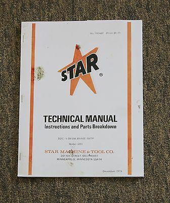 Star Machine 1265 Disc n' Drum Brake Shop Brake Lathe Instructions & Parts Guide