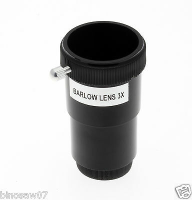 "STANDARD 3x BARLOW LENS (1.25"" BARREL FOR ASTRO TELESCOPE) TRIPLE MAGNIFICATION"