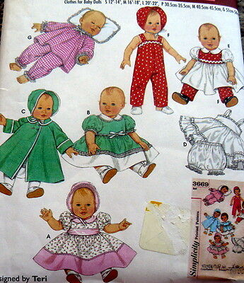 Great Retro S-M-L Baby Doll Clothing Sewing Pattern