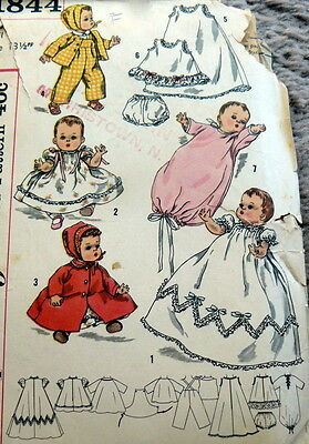 "GREAT VTG 1950s 13 1/2"" BABY DOLL CLOTHING SEWING PATTERN"
