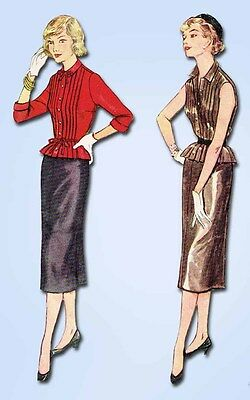 1950s Vintage Simplicity Sewing Pattern 4154 Misses Tucked Blouse Skirt Size 11