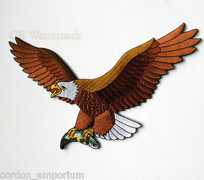 X Large Eagle Fish Novelty Embroidered Patch 9 Inches
