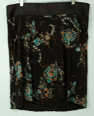size large Noppies maternity SKIRT brown knit paisley L