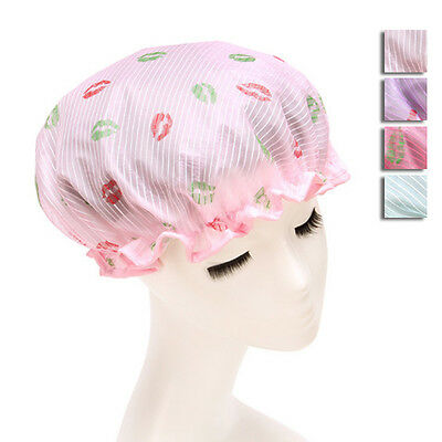 Newly Women Portable Shower Cap Waterproof Thicken Elastic Printing Bathing Caps