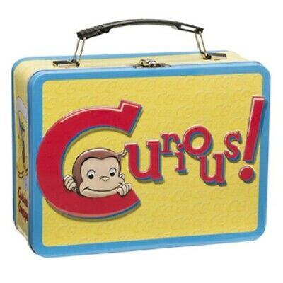 Curious George Animation Art and Name Large Tin Tote Lunchbox, NEW UNUSED
