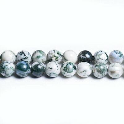 Tree Agate Round Beads 6mm White/Green 60+ Pcs Gemstones Jewellery Making Crafts